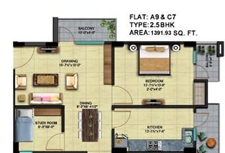 2 Bhk Flat With Study Room in Square Arcade Jaisinghpura,Jaipur